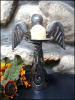 "Metal Angel Design - Handcrafted Metal Candle Holder - Haitian Metal Art 11"" High"
