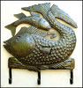 "Fish Metal Wall Hook - Steel Drum Haitian Art - Bathroom Decor - Metal Towel Hook - 14"" x 16"""