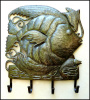 "Metal Fish and Shell Towel Hook - Recycled Steel Oil Drum Art of Haiti - Wall Hook - 14"" x 17"""