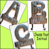 Metal Monogram Towel Hook. Initial Metal Wall Hook - Haitian Recycled Steel Drum
