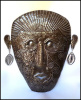 "Haitian Steel Drum Art - Metal Wall Art, Ethnic Mask Metal Wall Hanging - 22"" x 25"""