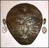 "Tribal Mask, Metal Wall Hanging, Metal Wall Art, Recycled Steel Drums in Haiti - 24"" x 25"""