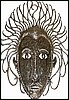 "Haitian Tribal Mask Wall Decor - Steel Drum Metal Art - 17"" x 24"""