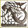 "Handcrafted Haitian Mermaid Steel Oil Drum Metal Wall Art ,Metal Wall Decor, - 30"" x 30"""