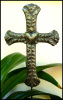 "Plant Markers - Cross Metal Plant Stake - Haitian Steel Drum Art Plant Stick - 8"" x 12"""