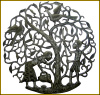 "Haitian Metal Art, A Tree Grows in Haiti, Metal Wall Hanging, Haitian Steel Drum Art - 30"" x 30"""