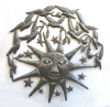 Haitian Metal Art Wall Decor. Recycled Steel Drum Art, Sun with Birds Wall Hanging - 34""